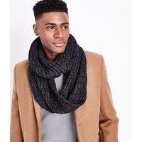 Mens Black Ribbed Snood New Look