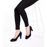Navy Comfort Flex Suedette Block Heel Court Shoes New Look