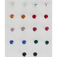 9 Pack Silver Crystal Multicoloured Stud Earrings New Look