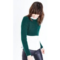 Dark Green Cropped Jumper New Look