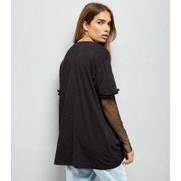 Noisy May Black Fishnet Frill Sleeve T-Shirt New Look
