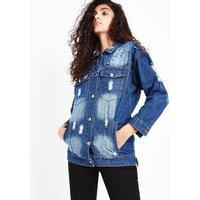 Blue Vanilla Blue Embellished Ripped Denim Jacket New Look