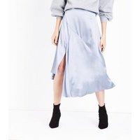 Silver Asymmetric Satin Midi Skirt New Look