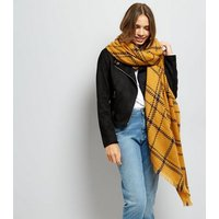 Yellow Check Print Scarf New Look