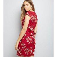 Blue Vanilla Red Floral Print Tulip Dress New Look