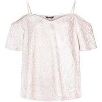 Shell Pink Shimmer Cold Shoulder Top New Look