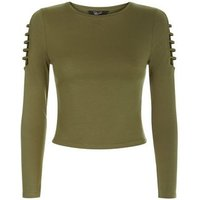 Teens Khaki Cut Out Long Sleeve Top New Look