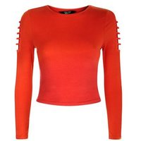 Teens Orange Cut Out Long Sleeve Top New Look