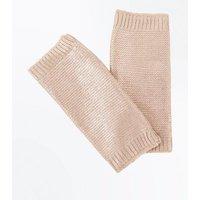 Cream Metallic Handwarmer Gloves New Look