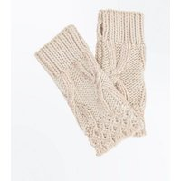 Cream Cable Knit Handwarmer Gloves New Look
