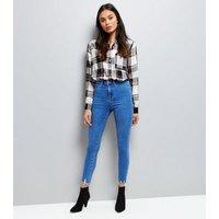 Bright Blue Frayed Hem High Waist Super Skinny Hallie Jeans New Look