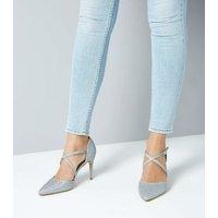 Silver Glitter Cross Strap Pointed Heels New Look