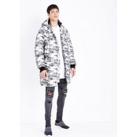 Green Camo Longline Puffer Jacket New Look