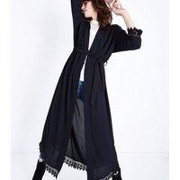 Mela Black Lace Trim Kimono New Look