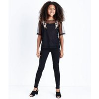 Teens Black Floral Embroidered Spot Mesh T-Shirt New Look