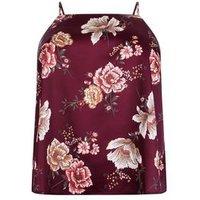 Curves Burgundy Floral Satin Cami Pyjama Top New Look