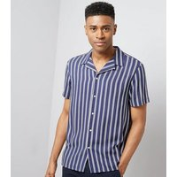 Navy Stripe Revere Shirt New Look