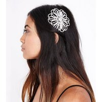 Silver Diamante Embellished Flower Hair Comb New Look