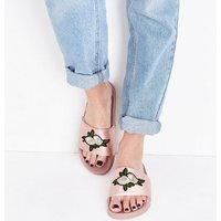 Pink Satin Floral Embroidered Sliders New Look