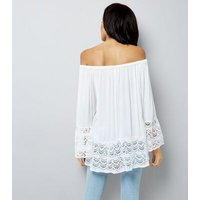 Blue Vanilla White Lace Trim Top New Look