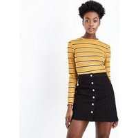Black Denim Button Front A-Line Skirt New Look