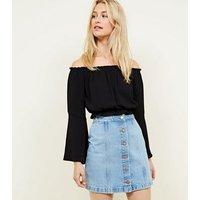 Bright Blue Denim Button Front A-Line Skirt New Look