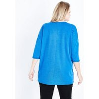 Curves Bright Blue V Neck Fine Knit Top New Look