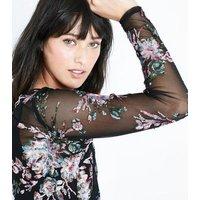 Black Floral Sequin Mesh Top New Look
