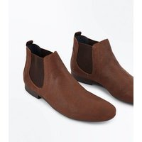 Men's Tan Pointed Toe Chelsea Boots New Look