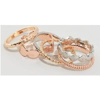 6 Pack Multicoloured Hammered Stacking Rings New Look