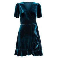 Dark Green Velvet Frill Trim Wrap Dress New Look