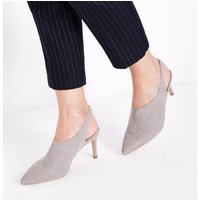 Wide Fit Grey Suedette Slingback Shoe Boots New Look