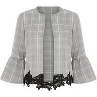 Cameo Rose Grey Check Lace Hem Jacket New Look