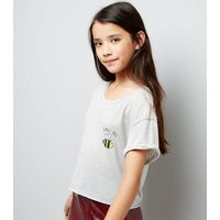 Teens Grey Bumble Bae Slogan Crop Top New Look