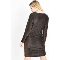 Mela Gold Glitter Wrap Front Bodycon Dress New Look