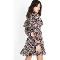 Black Floral Tiered Frill Wrap Front Dress New Look