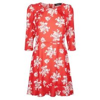 Petite Red Floral Frill Trim Skater Dress New Look