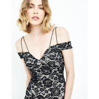 AX Paris Black Lace Strappy Bardot Neck Dress New Look