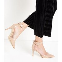 Nude Patent Chunky Ankle Strap Pointed Courts New Look