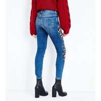 Blue Floral Embroidered Skinny Jenna Jeans New Look