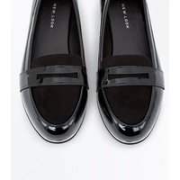 Wide Fit Black Patent Metallic Trim Loafers New Look
