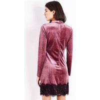 Blue Vanilla Bright Pink Velvet Lace Trim Dress New Look