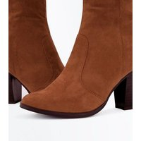 Wide Fit Tan Suedette Knee High Western Boots New Look
