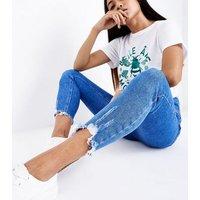 Petite Blue Fray Hem High Waist Skinny Jeans New Look