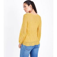 Maternity Yellow Sheer Embroidered Balloon Sleeve Top New Look