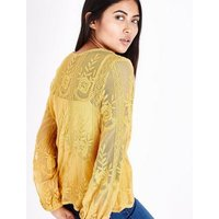 Petite Yellow Sheer Embroidered Balloon Sleeve Top New Look