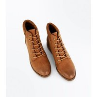 Tan Contrast Cuff Lace Up Hiker Boots New Look