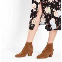 Tan Suede Block Heel Western Boots New Look