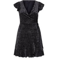 Black Glitter Velvet Frill Trim Wrap Dress New Look