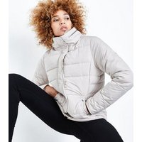 Tall Cream Fitted Puffer Jacket New Look